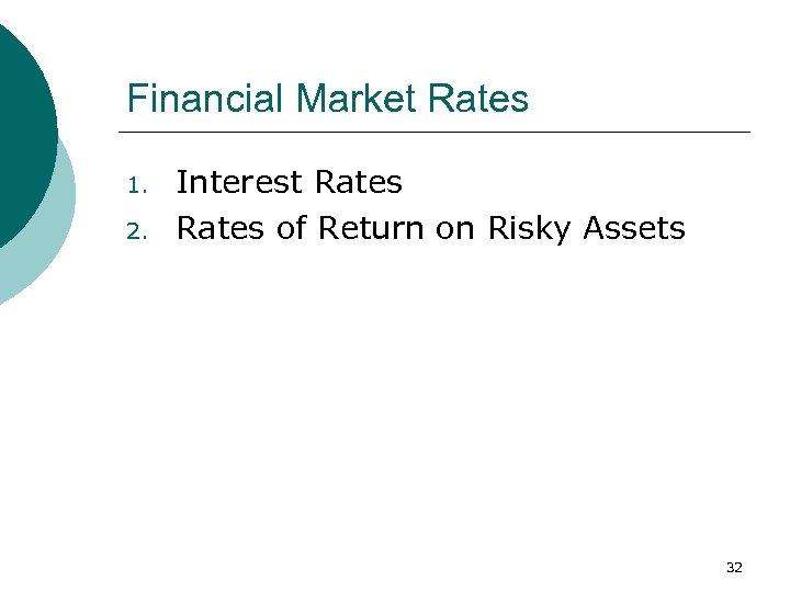 Financial Market Rates 1. 2. Interest Rates of Return on Risky Assets 32