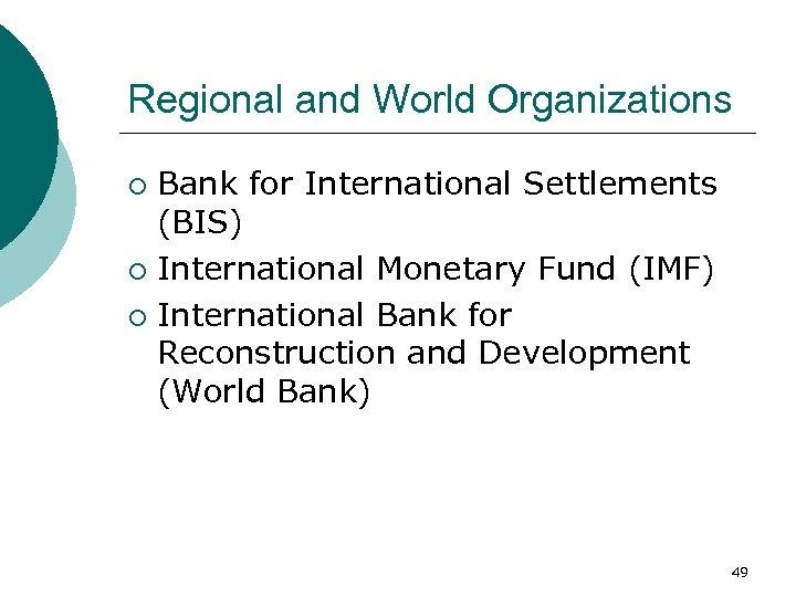 Regional and World Organizations Bank for International Settlements (BIS) ¡ International Monetary Fund (IMF)