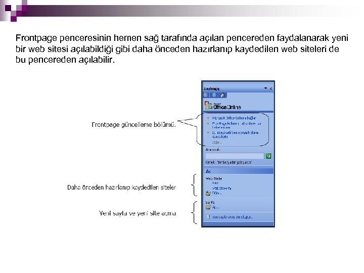 Frontpage penceresinin hemen sağ tarafında açılan pencereden faydalanarak yeni bir web sitesi açılabildiği gibi