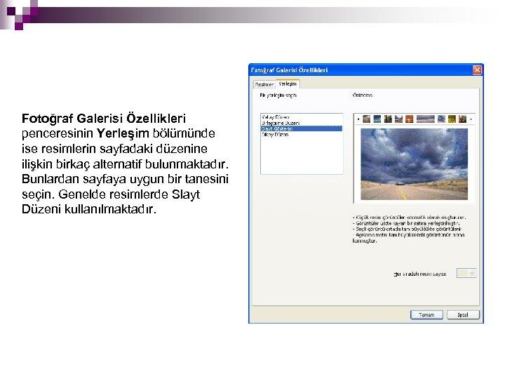 Fotoğraf Galerisi Özellikleri penceresinin Yerleşim bölümünde ise resimlerin sayfadaki düzenine ilişkin birkaç alternatif bulunmaktadır.