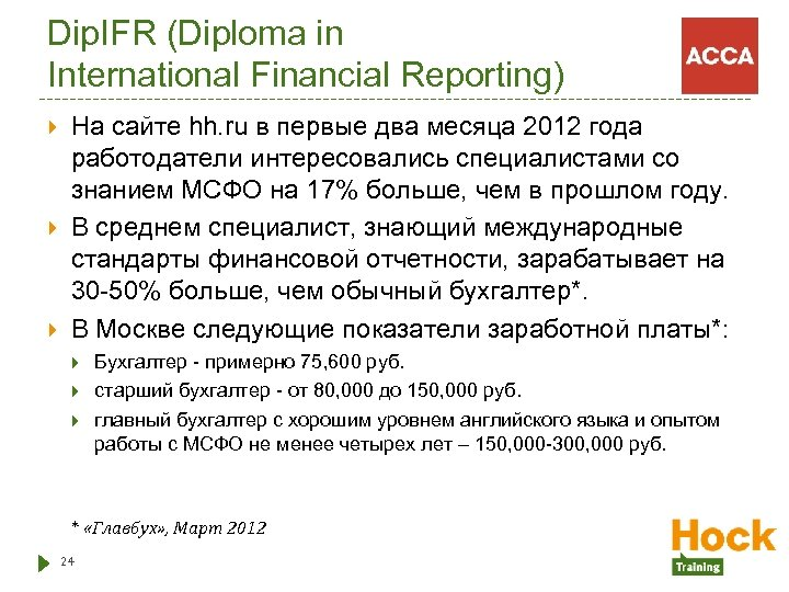 Dip. IFR (Diploma in International Financial Reporting) На сайте hh. ru в первые два