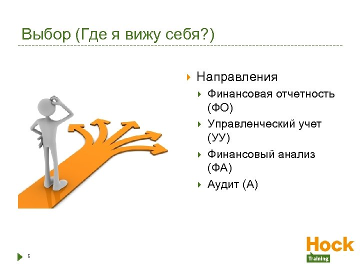 Выбор (Где я вижу себя? ) Направления 5 Финансовая отчетность (ФО) Управленческий учет (УУ)