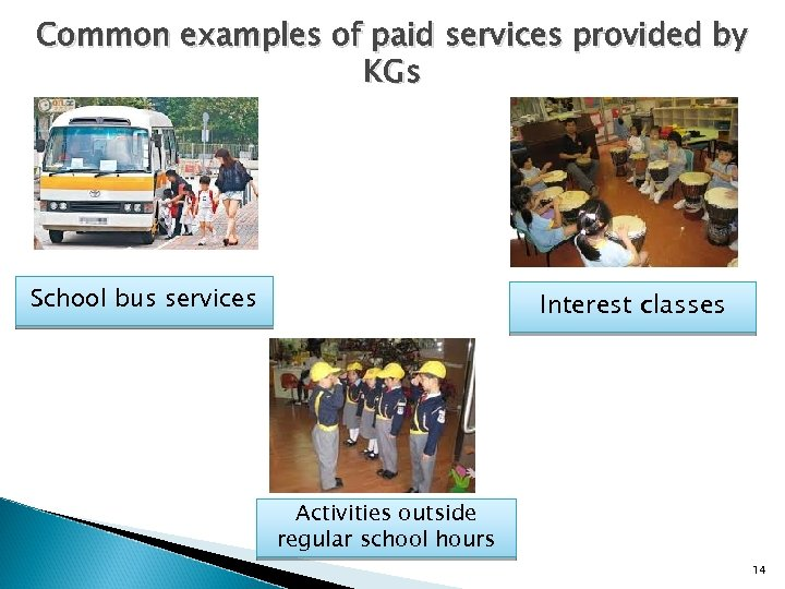 Common examples of paid services provided by KGs School bus services Interest classes Activities
