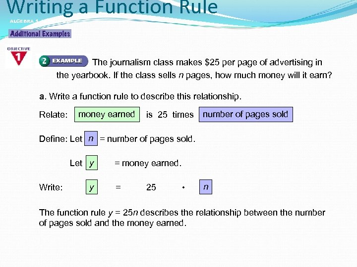 Writing a Function Rule ALGEBRA 1 LESSON 5 -4 The journalism class makes $25