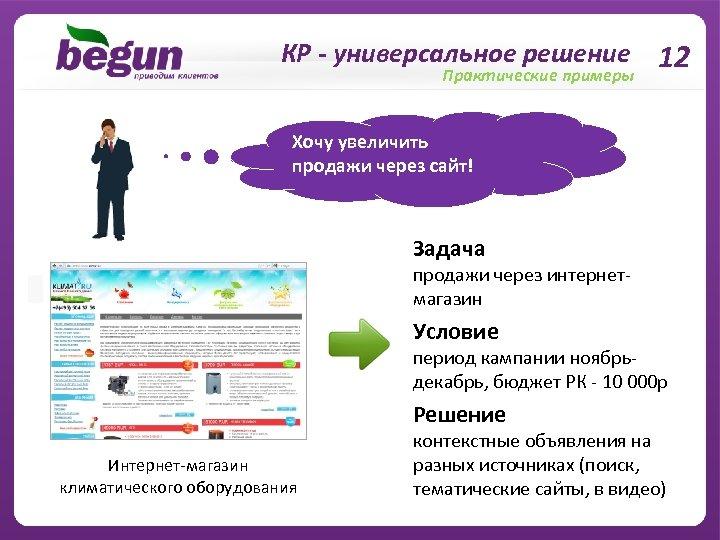 КР - универсальное решение 12 Практические примеры Хочу увеличить продажи через сайт! Задача продажи
