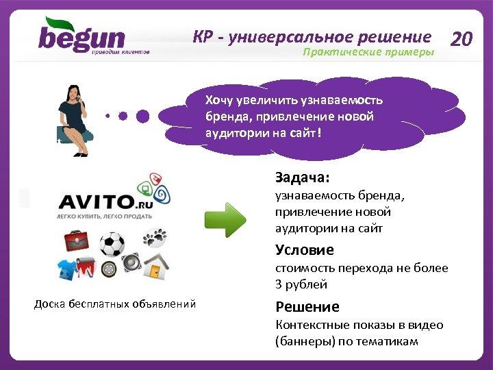 КР - универсальное решение 20 Практические примеры Хочу увеличить узнаваемость бренда, привлечение новой аудитории