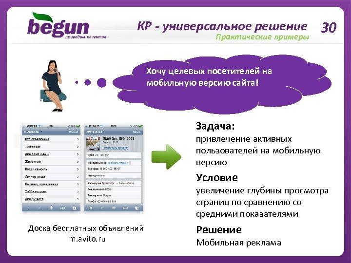 КР - универсальное решение 30 Практические примеры Хочу целевых посетителей на мобильную версию сайта!