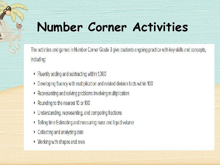 Number Corner Activities