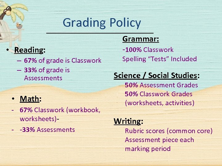 Grading Policy • Reading: – 67% of grade is Classwork – 33% of grade