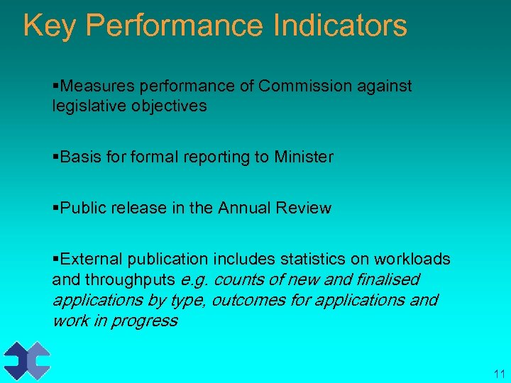 Key Performance Indicators §Measures performance of Commission against legislative objectives §Basis formal reporting to