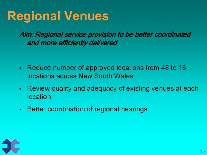 Regional Venues Aim: Regional service provision to be better coordinated and more efficiently delivered