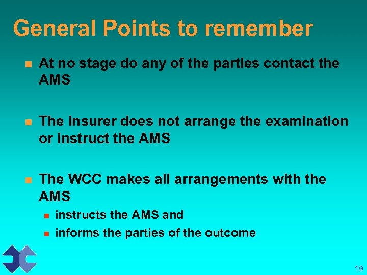 General Points to remember n At no stage do any of the parties contact