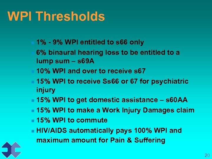 WPI Thresholds 1% - 9% WPI entitled to s 66 only n 6% binaural
