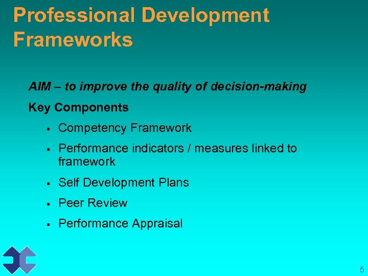 Professional Development Frameworks AIM – to improve the quality of decision-making Key Components §