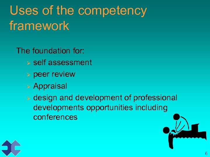 Uses of the competency framework The foundation for: Ø self assessment Ø peer review