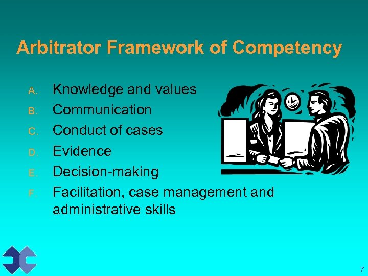 Arbitrator Framework of Competency A. B. C. D. E. F. Knowledge and values Communication