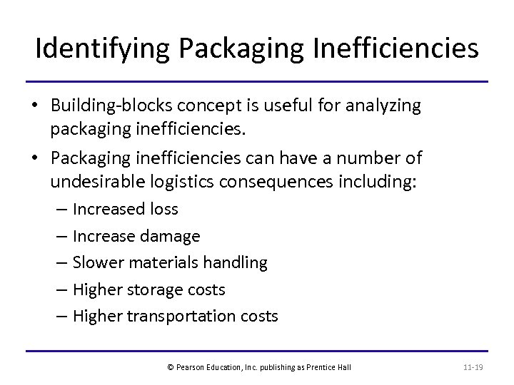 Identifying Packaging Inefficiencies • Building-blocks concept is useful for analyzing packaging inefficiencies. • Packaging