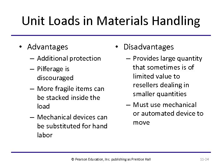 Unit Loads in Materials Handling • Advantages • Disadvantages – Additional protection – Pilferage