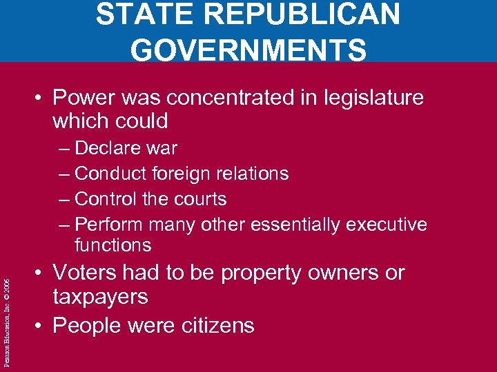 STATE REPUBLICAN GOVERNMENTS • Power was concentrated in legislature which could Pearson Education, Inc.