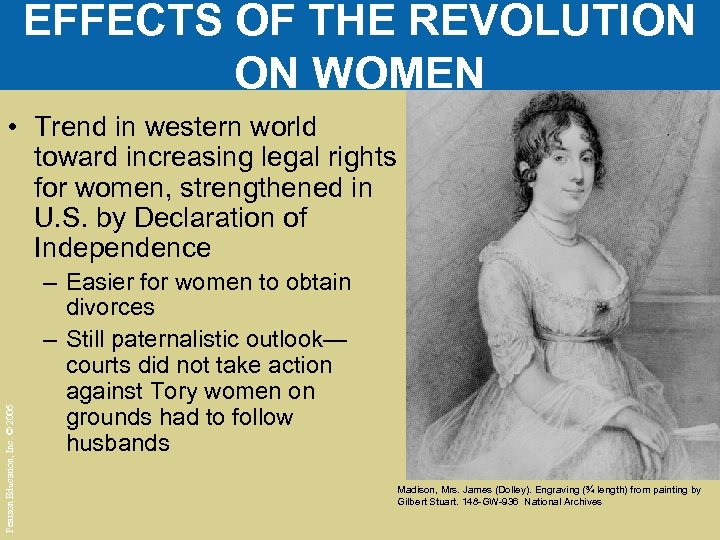 EFFECTS OF THE REVOLUTION ON WOMEN Pearson Education, Inc. © 2006 • Trend in