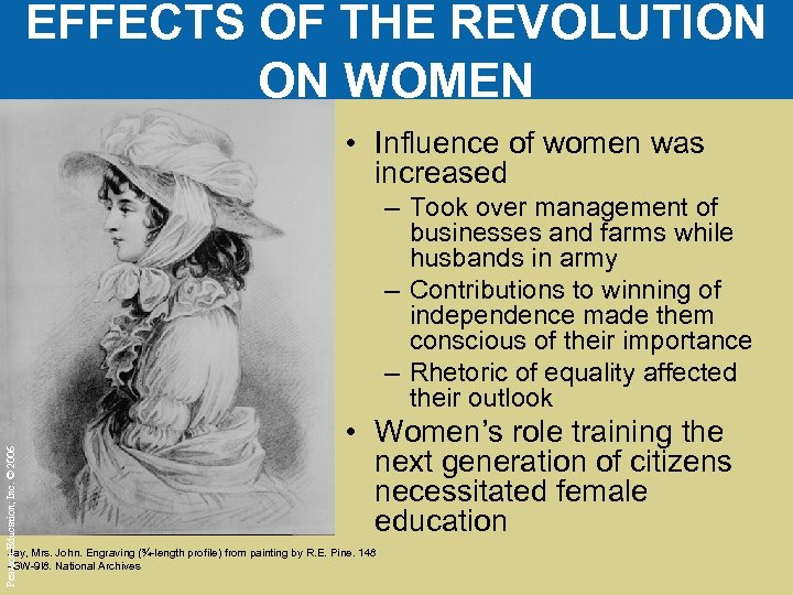 EFFECTS OF THE REVOLUTION ON WOMEN • Influence of women was increased Pearson Education,