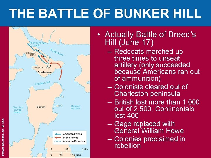 THE BATTLE OF BUNKER HILL Pearson Education, Inc. © 2006 • Actually Battle of