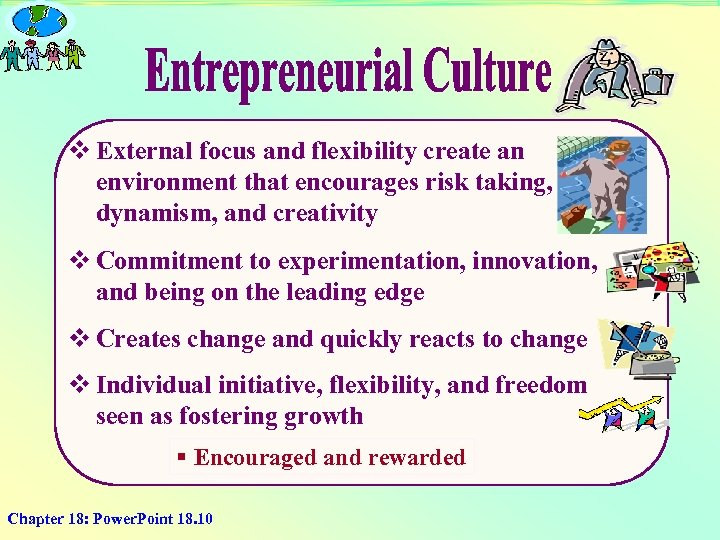 v External focus and flexibility create an environment that encourages risk taking, dynamism, and