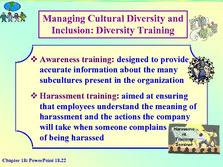 Managing Cultural Diversity and Inclusion: Diversity Training v Awareness training: designed to provide accurate