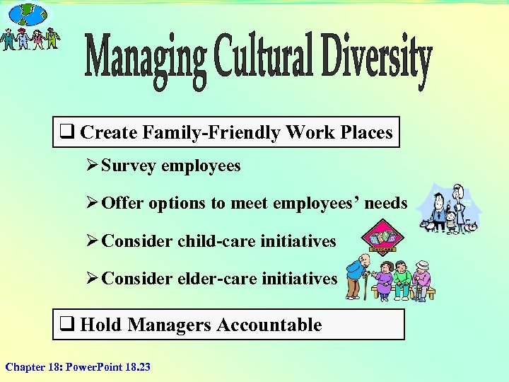 q Create Family-Friendly Work Places Ø Survey employees Ø Offer options to meet employees'