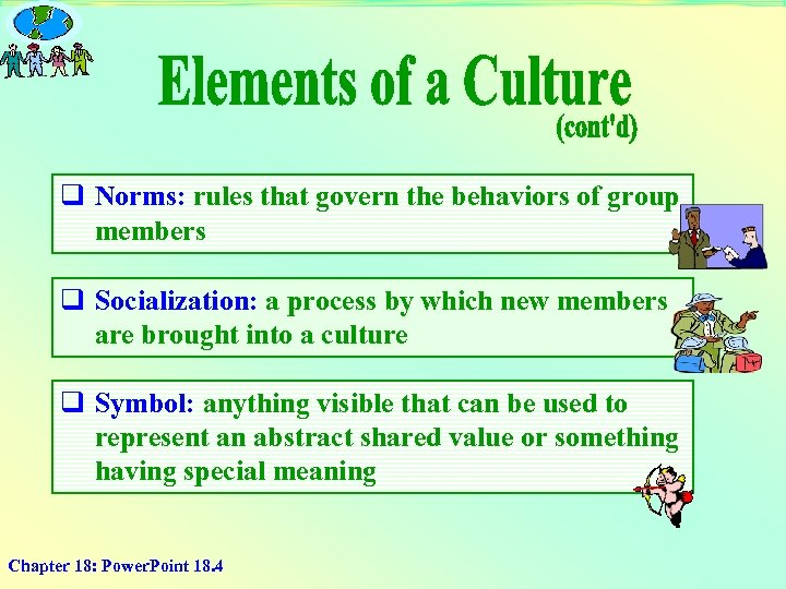 q Norms: rules that govern the behaviors of group members q Socialization: a process