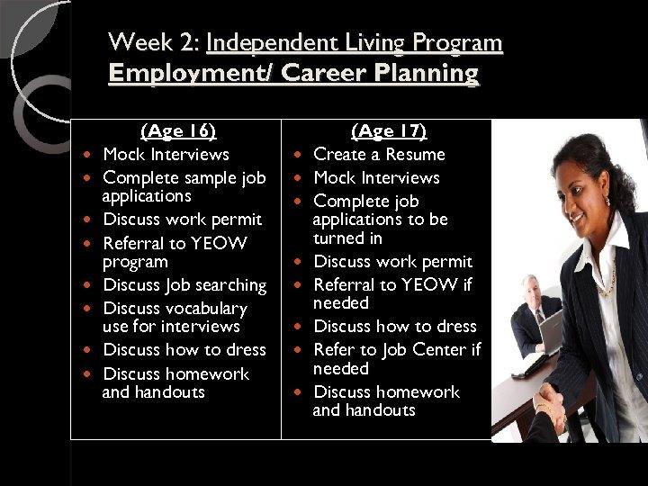 Week 2: Independent Living Program Employment/ Career Planning (Age 16) Mock Interviews Complete sample