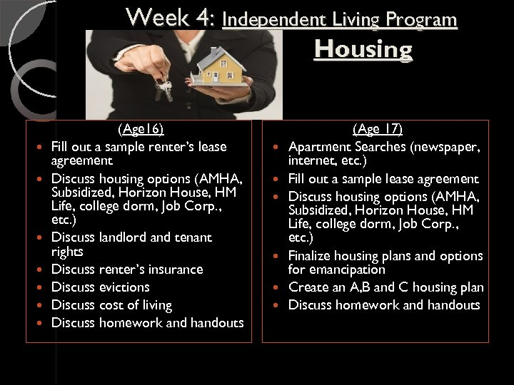 Week 4: Independent Living Program Housing (Age 16) Fill out a sample renter's lease