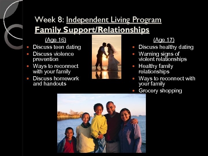 Week 8: Independent Living Program Family Support/Relationships (Age 16) Discuss teen dating Discuss violence