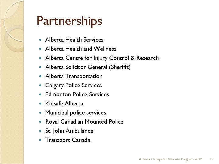 Partnerships Alberta Health Services Alberta Health and Wellness Alberta Centre for Injury Control &