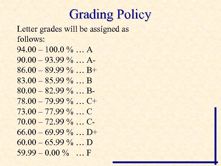 Grading Policy Letter grades will be assigned as follows: 94. 00 – 100. 0