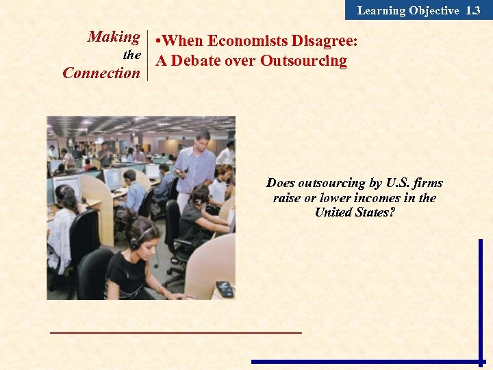 Learning Objective 1. 3 Making • When Economists Disagree: the A Debate over Outsourcing