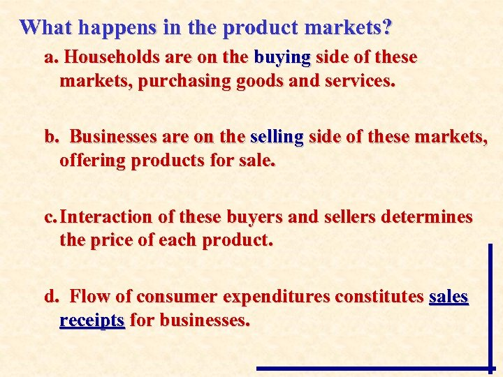 What happens in the product markets? a. Households are on the buying side of