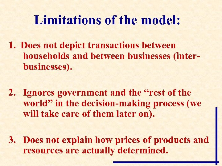 Limitations of the model: 1. Does not depict transactions between households and between businesses