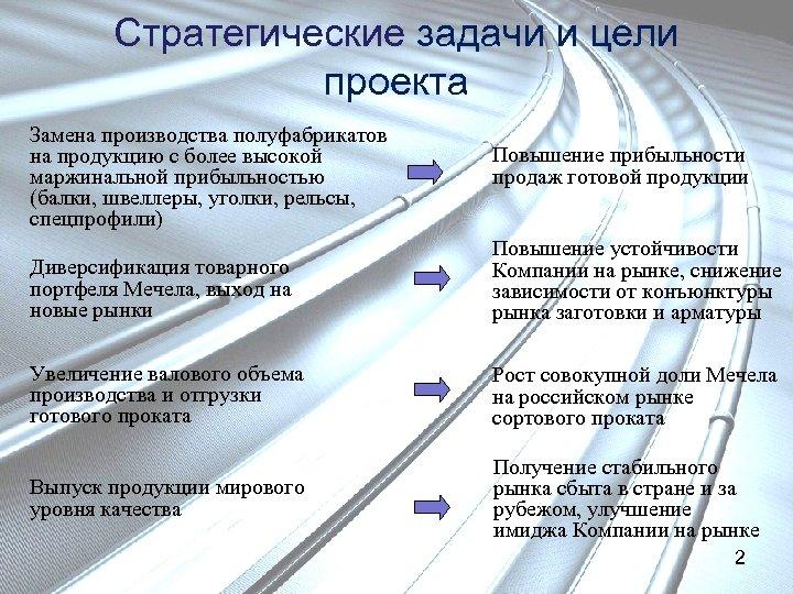 Стратегические задачи и цели проекта Замена производства полуфабрикатов на продукцию с более высокой маржинальной