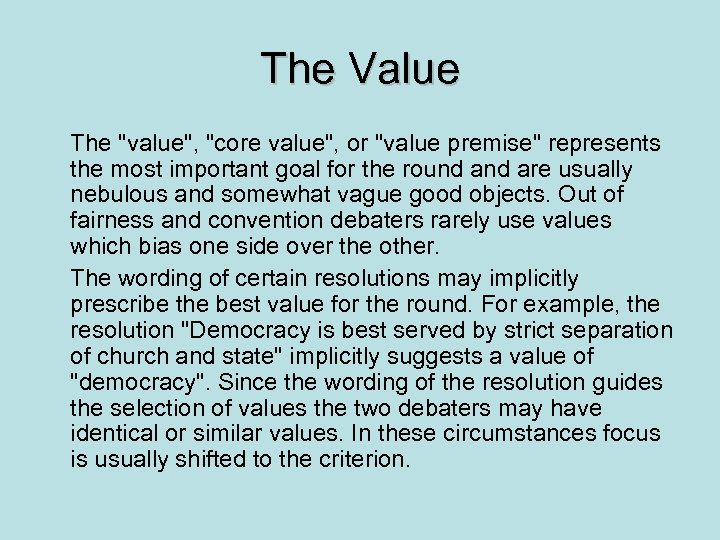 The Value The
