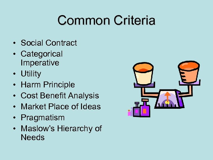 Common Criteria • Social Contract • Categorical Imperative • Utility • Harm Principle •