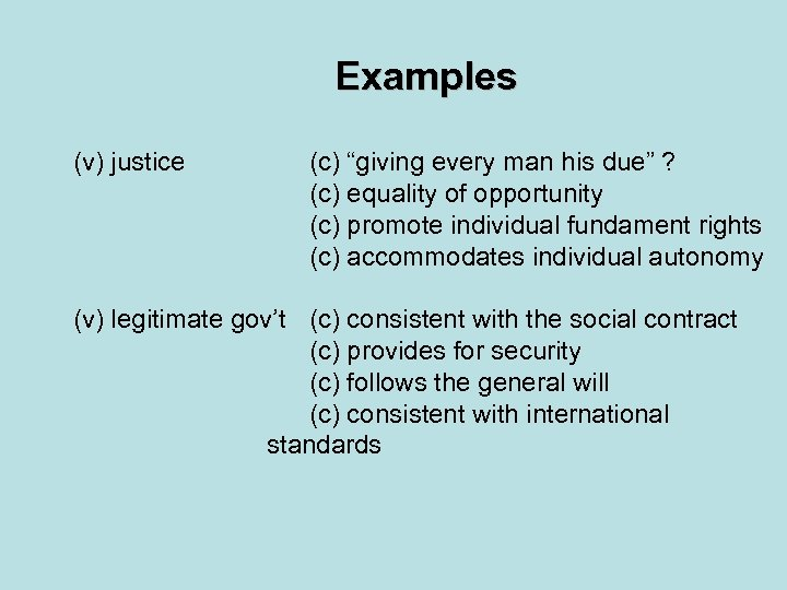 """Examples (v) justice (c) """"giving every man his due"""" ? (c) equality of opportunity"""