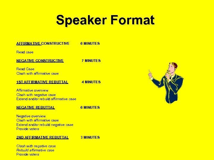 Speaker Format AFFIRMATIVE CONSTRUCTIVE 6 MINUTES Read case NEGATIVE CONSTRUCTIVE 7 MINUTES Read Case