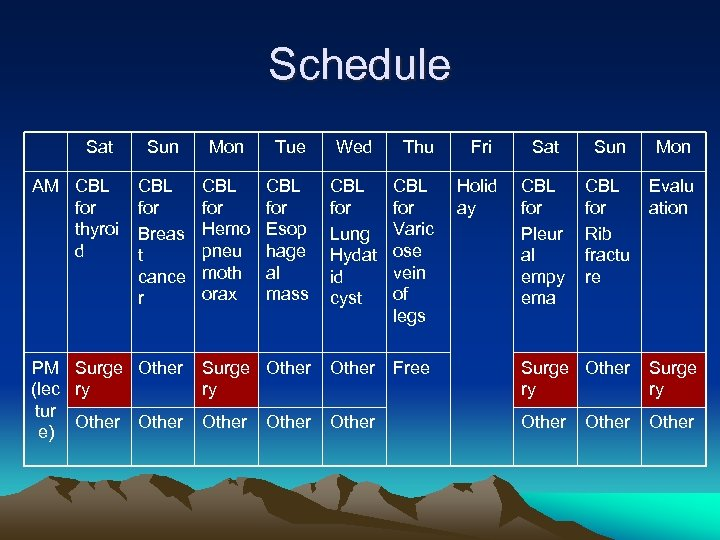 Schedule Sat AM CBL for thyroi d Sun Mon Tue Wed Thu Fri Sat