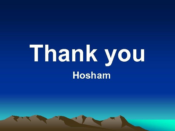 Thank you Hosham