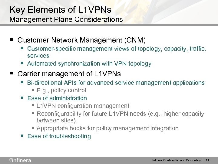 Key Elements of L 1 VPNs Management Plane Considerations § Customer Network Management (CNM)