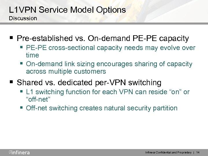 L 1 VPN Service Model Options Discussion § Pre-established vs. On-demand PE-PE capacity §