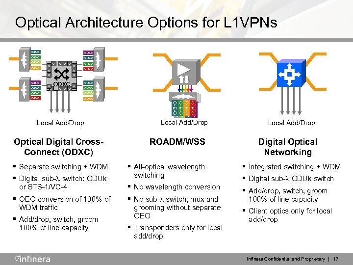Optical Architecture Options for L 1 VPNs O-E-O O-E-O O O O O-E-O O