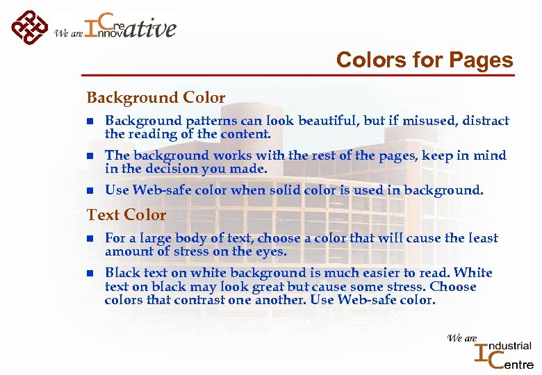 Colors for Pages Background Color n Background patterns can look beautiful, but if misused,