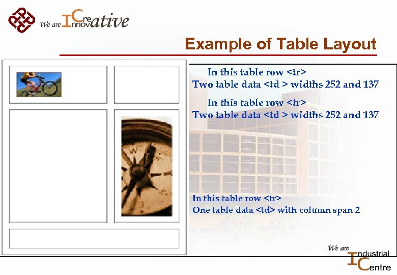 Example of Table Layout In this table row <tr> Two table data <td >